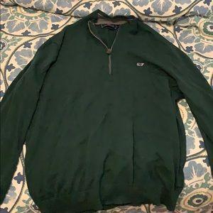 Green quarter zip.